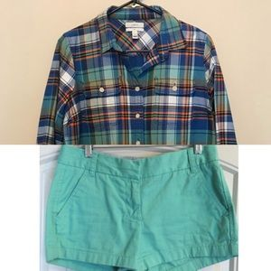 J.Crew flannel & shorts outfit